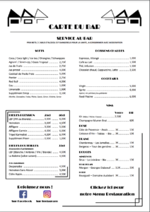 Carte du bar de l'Auberge de jeunesse